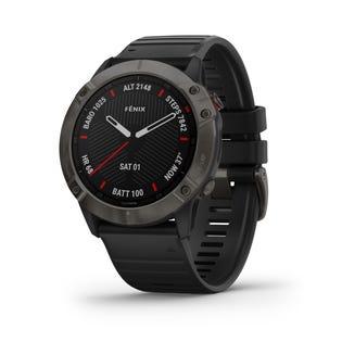 Montre intelligente Fenix 6X Saphir de Garmin GPS et tracker de fitness avec détection d'incident - Noir 010-02157-10 (EA1)