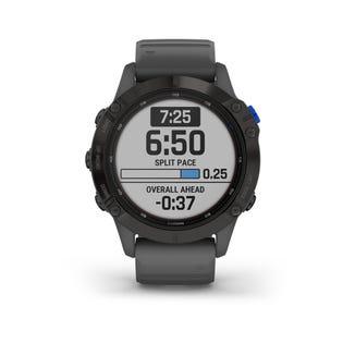 Montre intelligente Garmin Fenix 6 Pro à charge solaire en acier et tracker de fitness avec détection d'incident - Gris 010-02410-10 (EA1)