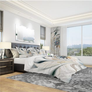Designart White Stained Glass Floral Art Duvet Cover Set BED10276-Q (EA1)