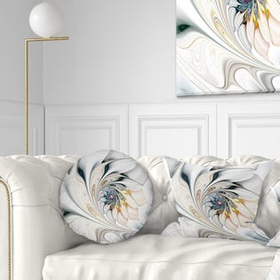 Designart Stained Glass Floral Modern Throw Pillow CU10276-12-20 (EA1)