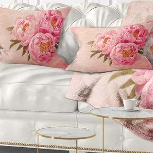 Designart Peony Flowers against Scribbled Back Floral Throw Pillow CU14211-12-20 (EA1)