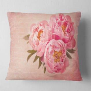 Designart Peony Flowers Throw Pillow CU14211-16-16 (EA1)