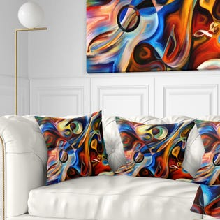 Designart Abstract Music and Rhythm Abstract Throw Pillow CU6152-16-16 (EA1)