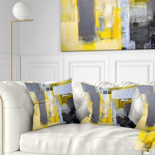 Designart Grey and Yellow Blur Abstract Abstract Throw Pillow CU6269-18-18 (EA1)