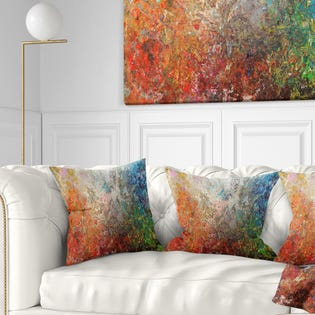 Designart Board Stained Abstract Art Abstract Throw Pillow CU6548-18-18 (EA1)