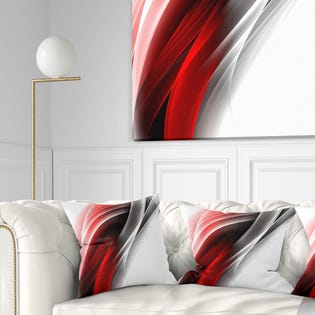 Designart 3D Pink Silver Vertical Lines Abstract Throw Pillow CU8120-16-16 (EA1)