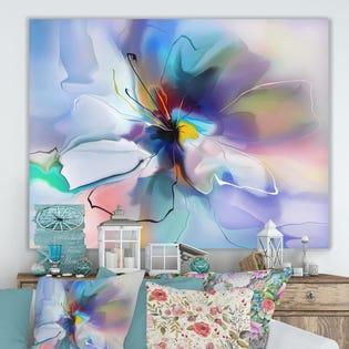 Art mural floral extra large Abstract Creative Blue Flower de Designart PT15013-40-30 (EA1)