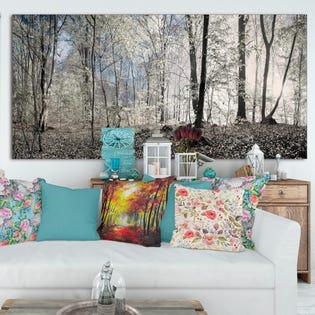 Designart Dark Morning in Forest Panorama Impression artistique sur grande toile PT15464-60-28 (EA1)