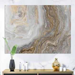 Marbre blanc avec des veines gris curley et or peinture impression sur toile PT24713-20-12 (EA1)