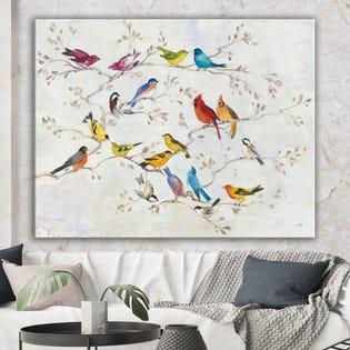 Designart Oiseaux multicolores sur arbre Art de toile de ferme moderne PT30010-32-24 (EA1)