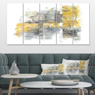 Designart Moving In and Out of Traffic II Yellow Grey Impression sur toile géométrique PT30049-373 (EA1)