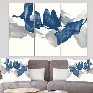 Designart Gouache Sapphire on Grey Art moderne sur toile PT30262-3PXXL (EA1)