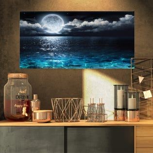 Designart Romantic Full Moon Over Sea Seascape Impression sur toile PT9653-32-16 (EA1)