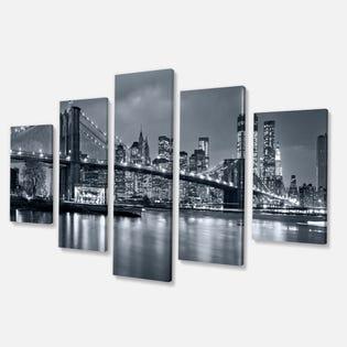 Carbon Loft Panorama New York City at Night Cityscape Impression sur toile PT9959-373 (EA1)