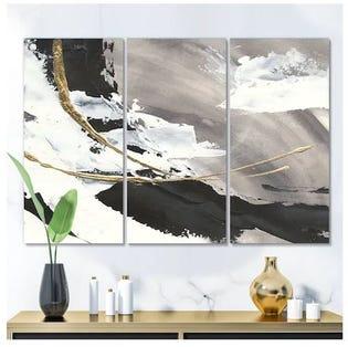Designart Glam Painted Arcs II Oeuvre de transition sur toile PT30509-3PXXL (EA1)