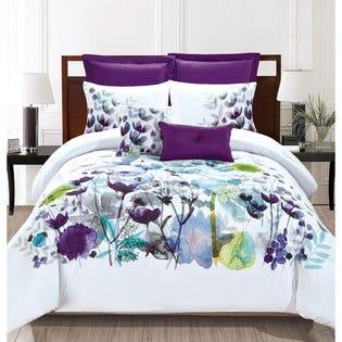 Ensemble de literie avec édredon pour très grand lit Flower de LadySandra, 7pièces (EA2)