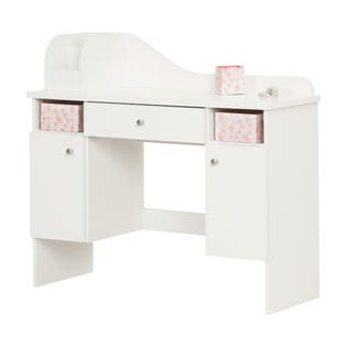 South Shore Vito Makeup Desk with Drawer Wh and Pink 10081 (EA1)