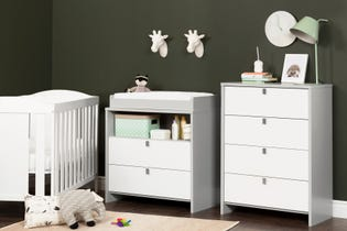 South Shore Cookie 4-Drawer Chest Gray and White 10277 (EA1)