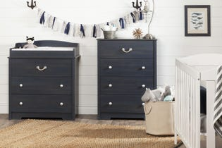South Shore Aviron Changing Table with Drawers Blueberry 10420 (EA1)