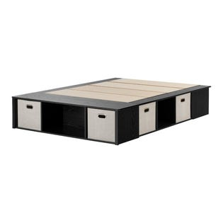 South Shore Flexible Bed with Storage and Baskets Black Oak and Taupe 10487 (EA1)