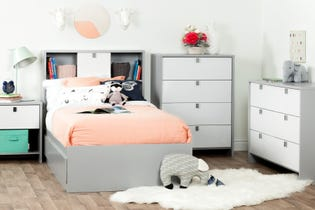 South Shore Cookie 1-Drawer Nightstand Gray and White 10513 (EA1)