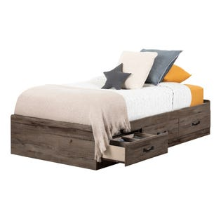 South Shore Ulysses Mates Bed with 3 Drawers Fall Oak 11911 (EA1)