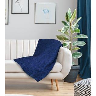 Jeté Gorey de LadySandra, 50po x 60po, bleu marine (EA2)