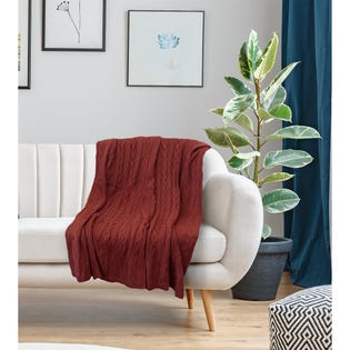 Jeté Moura de LadySandra, 50po x 60po, rouge (EA2)