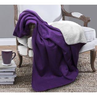 Jeté Piceno de LadySandra en tissu-laine, 50po x 60po, violet (EA2)