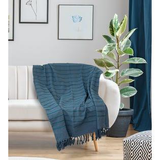 Jeté Longford de LadySandra, 50po x 60po, bleu (EA2)