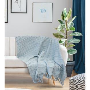 Jeté Longford de LadySandra, 50po x 60po, bleu froid (EA2)