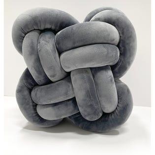 Coussin décoratif en forme de nœud LadySandra, 12po x 12po, gris charbon (EA2)