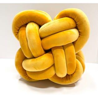 Coussin décoratif en forme de nœud LadySandra, 12po x 12po, moutarde (EA2)