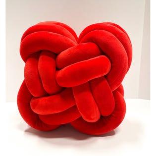 Coussin décoratif en forme de nœud LadySandra, 12po x 12po, rouge (EA2)
