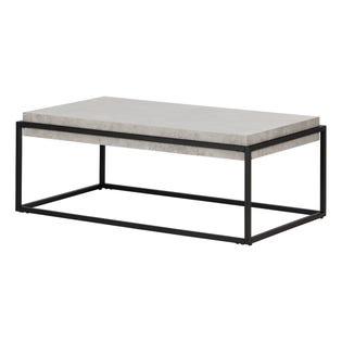 South Shore Mezzy Rectangular Modern Industrial Coffee Table Concrete 12066 (EA1)
