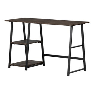 South Shore Evane Industrial Desk with Storage Cracked Fall Oak (EA1)