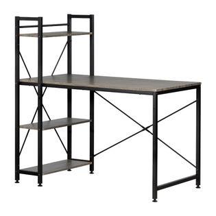 South Shore Evane Industrial Desk with Bookcase Camel 12113 (EA1)