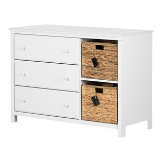 South Shore Cotton Candy 3-Drawer Dresser with Baskets White  12140 (EA1)