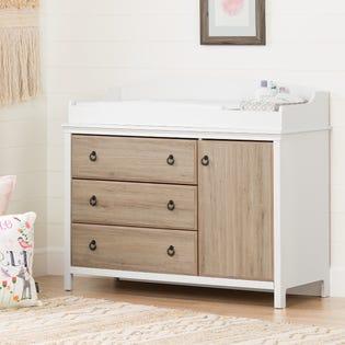 Cotton Candy Table à langer avec pourtour Blanc solide et chêne rustique South Shore (EA1)