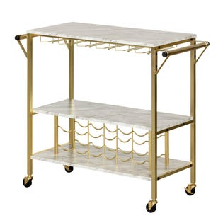 Maliza Bar Cart with Wine Bottle Storage and Wine Glass Rack Faux Marble and Gold 12804 (EA1)