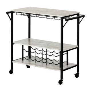 South Shore Maliza Bar Cart with Wine Bottle Storage and Wine Glass Rack Faux Marble and Black 12805 (EA1)
