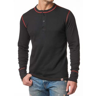 Stanfields Men's 2 Layer Cotton Blend Henley (EA1)