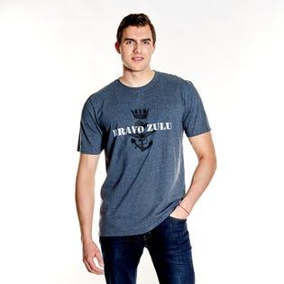 Navy Men's Print Front T-Shirt
