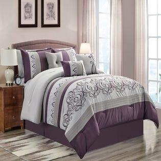 Ensemble de literie avec édredon pour grand lit Galway de LadySandra, 7pièces, mauve (EA2)