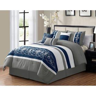 Ensemble de literie avec édredon pour grand lit Waterford de LadySandra, 7pièces, gris (EA2)