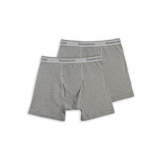 Stanfields Men's 2 Pack Premium Cotton Boxer Briefs Grey (EA1)