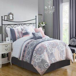 Ensemble de literie avec édredon pour grand lit Limerick de LadySandra, 7pièces, rose (EA2)