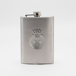 HMCS CABOT SS FLASK W PEWTER CREST
