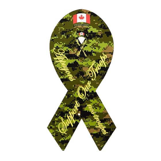 Support Our Troops Camo Magnetic Ribbon
