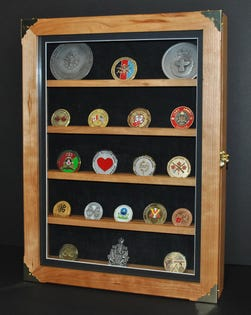 Coin Display Case Solid Cherry Wood